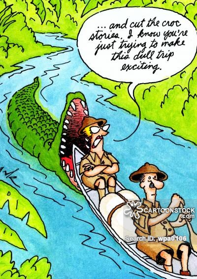 '...and cut the croc stories, I know you're just trying to make this dull trip exciting.'